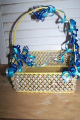 Small Yellow Beaded Metal Basket in Spring, Texas